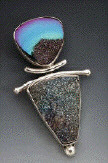 Titanium Drusy and Sterling Silver pin/pendant